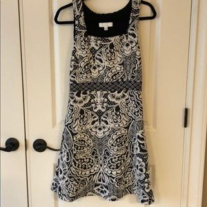 Anthropologie Black and White Floral Dress